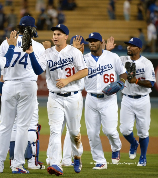 The Dodgers celebrate the 5-2 win against the Arizona Diamondbacks. Jill Weisleder/Dodgers
