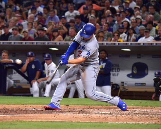 Los Angeles Dodgers Joc Pederson doubles  at the San Diego Padres Thursday, September 29, 2016 at Petco Park. Photo by Jon SooHoo/©Los Angeles Dodgers,LLC 2016