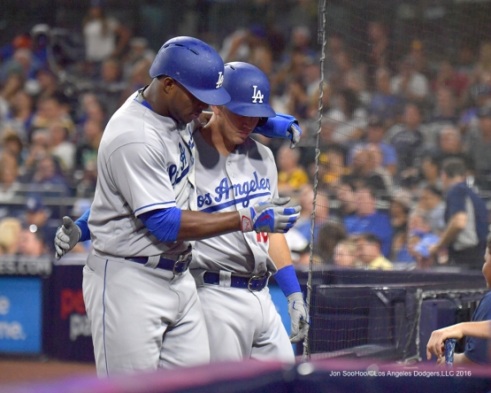 Yasiel Puig and Austin Barnes during the San Diego Padres game Thursday, September 29, 2016 at Petco Park. Photo by Jon SooHoo/©Los Angeles Dodgers,LLC 2016
