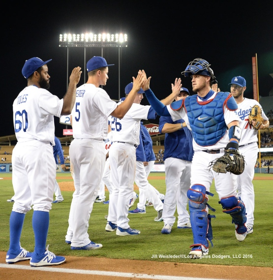 The Dodgers celebrate a 10-2 win against the Arizona Diamondbacks. Jill Weisleder/Dodgers