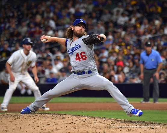Josh Fields pitches against the San Diego Padres Thursday, September 29, 2016 at Petco Park. Photo by Jon SooHoo/©Los Angeles Dodgers,LLC 2016