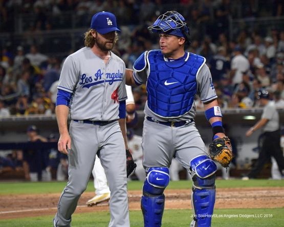 Josh Fields and Carlos Ruiz head to the dugout during game against the San Diego Padres Thursday, September 29, 2016 at Petco Park. Photo by Jon SooHoo/©Los Angeles Dodgers,LLC 2016