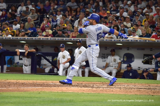 Andre Ethier singles Thursday, September 29, 2016 at Petco Park. Photo by Jon SooHoo/©Los Angeles Dodgers,LLC 2016