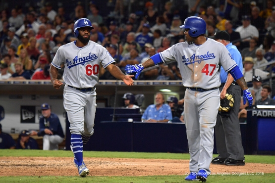 Andrew Toles scores against the San Diego Padres Thursday, September 29, 2016 at Petco Park. Photo by Jon SooHoo/©Los Angeles Dodgers,LLC 2016