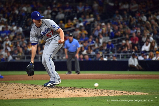 Alex Wood fields ball against the San Diego Padres Thursday, September 29, 2016 at Petco Park. Photo by Jon SooHoo/©Los Angeles Dodgers,LLC 2016