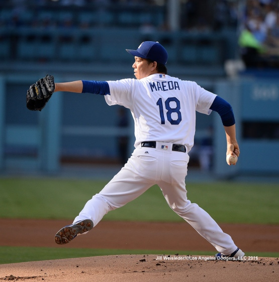 Kenta Maeda pitches on the mound against the Arizona Diamondbacks. Jill Weisleder/Dodgers