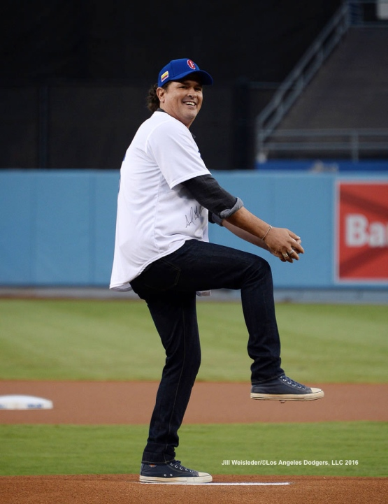 Grammy winning artist Carlos Vives gets ready to throw the ceremonial first pitch prior to the game against the Arizona Diamondbacks. Jill Weisleder/Dodgers