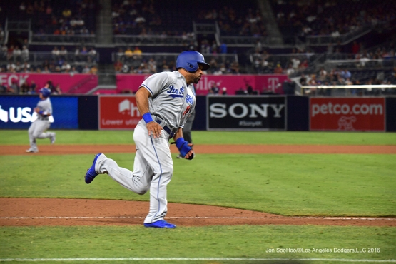 Micah Johnson scores at the San Diego Padres Thursday, September 29, 2016 at Petco Park. Photo by Jon SooHoo/©Los Angeles Dodgers,LLC 2016