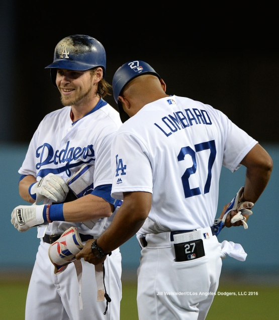 Josh Reddick smiles as he connects for a single. Jill Weisleder/Dodgers