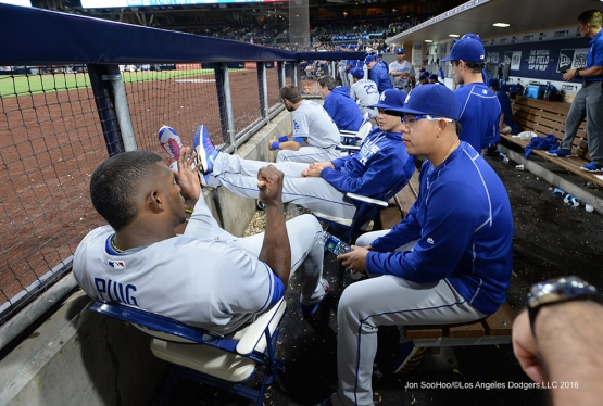 Los Angeles Dodgers in the dugout during game against the San Diego Padres Thursday, September 29, 2016 at Petco Park. Photo by Jon SooHoo/©Los Angeles Dodgers,LLC 2016