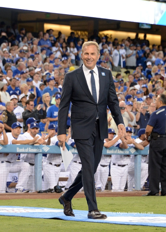 Actor Kevin Costner is introduced during pre-game festivities. Jill Weisleder/Dodgers