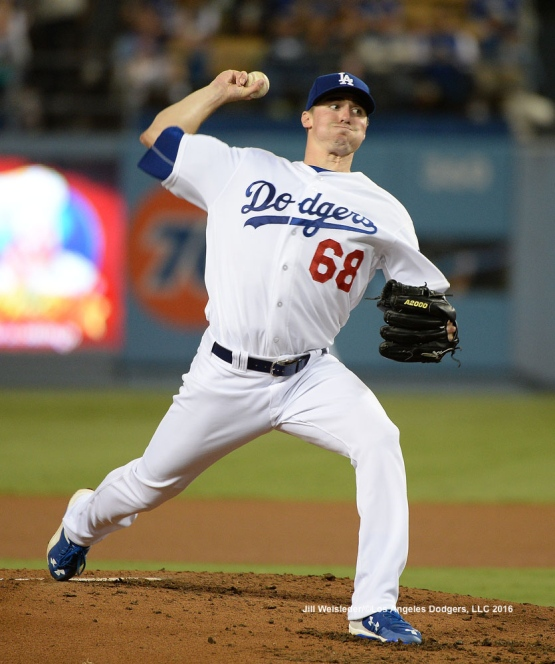 Ross Stripling throws on the mound against the Arizona Diamondbacks. Jill Weisleder/Dodgers