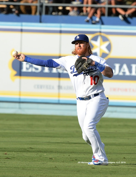Justin Turner throws to first base for the out. Jill Weisleder/Dodgers
