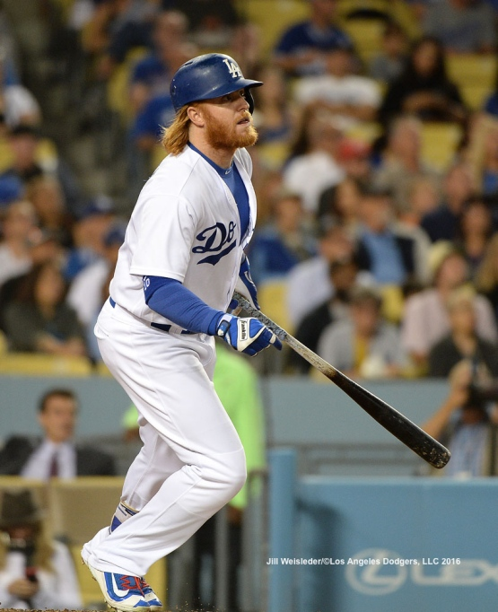 Justin Turner follows through on a swing. Jill Weisleder/Dodgers
