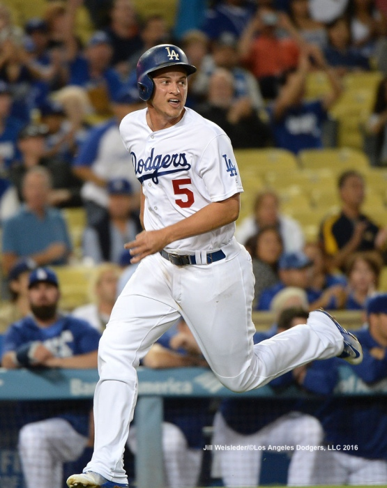 Corey Seager comes in to score. Jill Weisleder/Dodgers