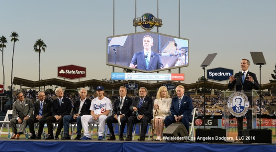 Los Angeles Mayor Eric Garcetti addresses the crowd at Dodger Stadium. Jill Weisleder/Dodgers
