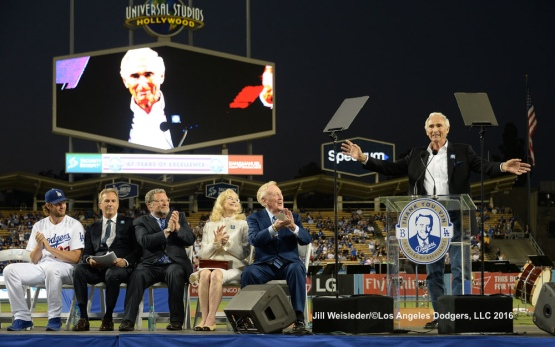 Sandy Koufax speaks to the crowd during the ceremony. Jill Weisleder/Dodgers