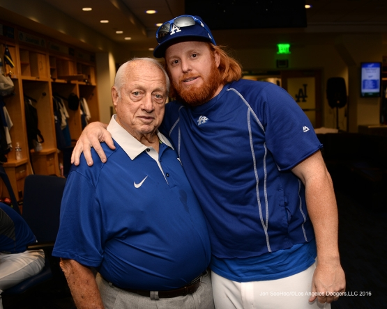 2016 NLCS Game 3---Tommy Lasorda and Justin Turner-Los Angeles Dodgers vs Chicago Cubs Tuesday, October 18, 2016 at Dodger Stadium in Los Angeles, California. Photo by Jon SooHoo/© Los Angeles Dodgers, LLC 2016
