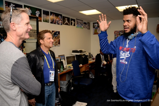 2016 NLCS Game 3---Steve Kerr, Peter Guber and Kenley Jansen-Los Angeles Dodgers vs Chicago Cubs Tuesday, October 18, 2016 at Dodger Stadium in Los Angeles, California. Photo by Jon SooHoo/© Los Angeles Dodgers, LLC 2016
