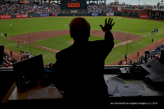 Vin Scully calls his last game--Los Angeles Dodgers at San Francisco Sunday, October 2, 2016 at AT&T Park. Photo by Jon SooHoo/©Los Angeles Dodgers,LLC 2016