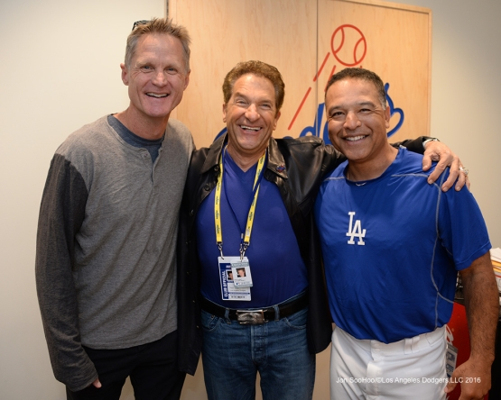 2016 NLCS Game 3---Steve Kerr, Peter Guber and Dave Roberts--Los Angeles Dodgers vs Chicago Cubs Tuesday, October 18, 2016 at Dodger Stadium in Los Angeles, California. Photo by Jon SooHoo/© Los Angeles Dodgers, LLC 2016