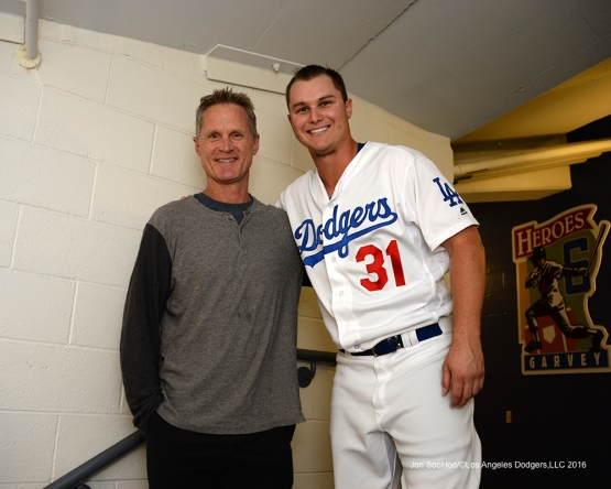 2016 NLCS Game 3---Steve Kerr and Joc Pederson-Los Angeles Dodgers vs Chicago Cubs Tuesday, October 18, 2016 at Dodger Stadium in Los Angeles, California. Photo by Jon SooHoo/© Los Angeles Dodgers, LLC 2016