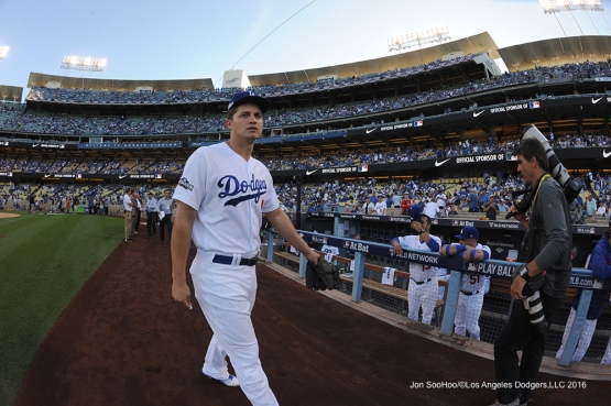 2016 NLCS Game 3---Corey Seager-Los Angeles Dodgers vs Chicago Cubs Tuesday, October 18, 2016 at Dodger Stadium in Los Angeles, California. Photo by Jon SooHoo/© Los Angeles Dodgers, LLC 2016