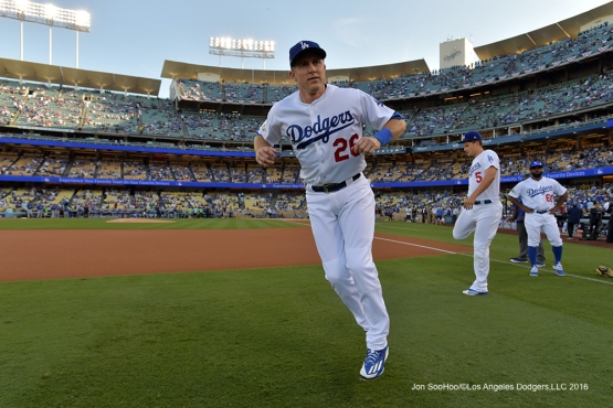 2016 NLCS Game 3---Chase Utley-Los Angeles Dodgers vs Chicago Cubs Tuesday, October 18, 2016 at Dodger Stadium in Los Angeles, California. Photo by Jon SooHoo/© Los Angeles Dodgers, LLC 2016