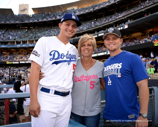 2016 NLCS Game 3---The Seager family--Los Angeles Dodgers vs Chicago Cubs Tuesday, October 18, 2016 at Dodger Stadium in Los Angeles, California. Photo by Jon SooHoo/© Los Angeles Dodgers, LLC 2016