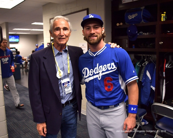 2016 NLDS Game One---Sandy Koufax and Charlie Culberson--Los Angeles Dodgers vs Washington Nationals  Friday, October 7, 2016 at Nationals Park in Washington,DC.  Photo by Jon SooHoo/©Los Angeles Dodgers,LLC 2016