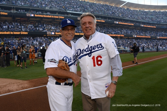2016 NLCS Game 3---Steve Yeager and Rick Monday-Los Angeles Dodgers vs Chicago Cubs Tuesday, October 18, 2016 at Dodger Stadium in Los Angeles, California. Photo by Jon SooHoo/© Los Angeles Dodgers, LLC 2016