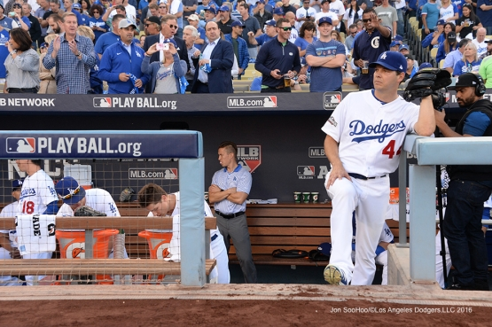 2016 NLCS Game 3---Rich Hill prepares to start the game-Los Angeles Dodgers vs Chicago Cubs Tuesday, October 18, 2016 at Dodger Stadium in Los Angeles, California. Photo by Jon SooHoo/© Los Angeles Dodgers, LLC 2016