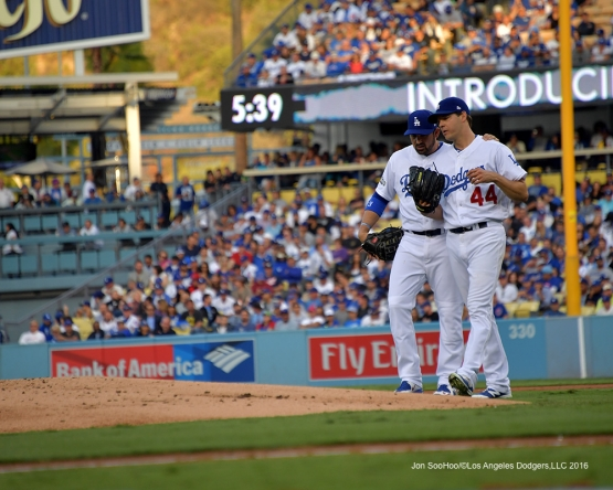 2016 NLCS Game 3---Adrian Gonzalez and Rich Hill-Los Angeles Dodgers vs Chicago Cubs Tuesday, October 18, 2016 at Dodger Stadium in Los Angeles, California. Photo by Jon SooHoo/© Los Angeles Dodgers, LLC 2016