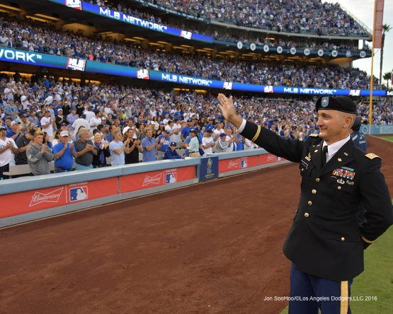 2016 NLCS Game 3---Dodgers Military Hero of the Game-US Army Lietenant Colonel, Stephen Ramella-Los Angeles Dodgers vs Chicago Cubs Tuesday, October 18, 2016 at Dodger Stadium in Los Angeles, California. Photo by Jon SooHoo/© Los Angeles Dodgers, LLC 2016