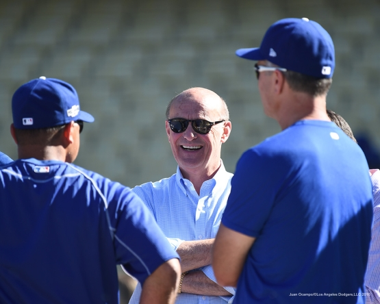 2016 NLCS Game 5---Stan Kasten-Chicago Cubs vs Los Angeles Dodgers Thursday, October 20, 2016 at Dodger Stadium in Los Angeles, California. Photo by Juan Ocampo/© Los Angeles Dodgers, LLC 2016