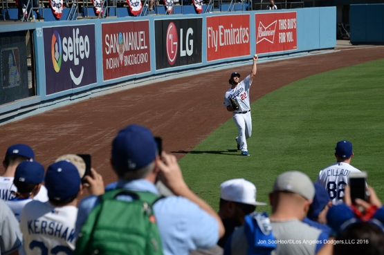 2016 NLDS Game 4---Kershaw warms up-Los Angeles Dodgers vs Washington Nationals Tuesday, October 11, 2016 at Dodger Stadium in Los Angeles, California. Photo by Jon SooHoo/© Los Angeles Dodgers, LLC 2016