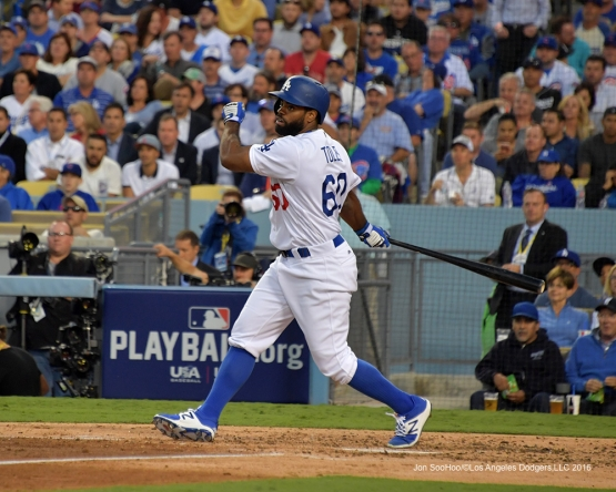 2016 NLCS Game 3---Andrew Toles singles-Los Angeles Dodgers vs Chicago Cubs Tuesday, October 18, 2016 at Dodger Stadium in Los Angeles, California. Photo by Jon SooHoo/© Los Angeles Dodgers, LLC 2016
