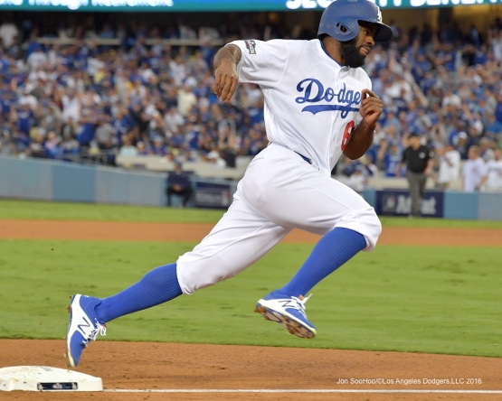 2016 NLCS Game 3---Andrew Toles scores-Los Angeles Dodgers vs Chicago Cubs Tuesday, October 18, 2016 at Dodger Stadium in Los Angeles, California. Photo by Jon SooHoo/© Los Angeles Dodgers, LLC 2016
