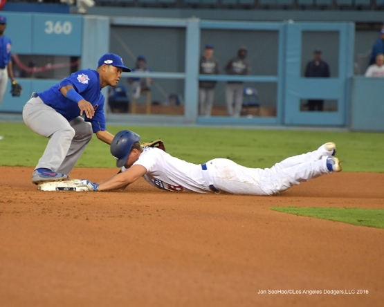 2016 NLCS Game 3---Corey Seager dives into second-Los Angeles Dodgers vs Chicago Cubs Tuesday, October 18, 2016 at Dodger Stadium in Los Angeles, California. Photo by Jon SooHoo/© Los Angeles Dodgers, LLC 2016