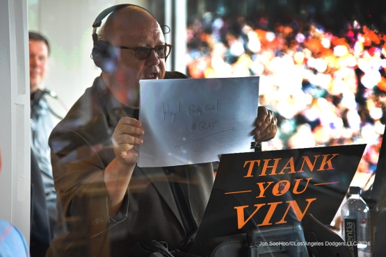 Jon Miller with a salute---Vin Scully calls his last game--Los Angeles Dodgers at San Francisco Sunday, October 2, 2016 at AT&T Park. Photo by Jon SooHoo/©Los Angeles Dodgers,LLC 2016