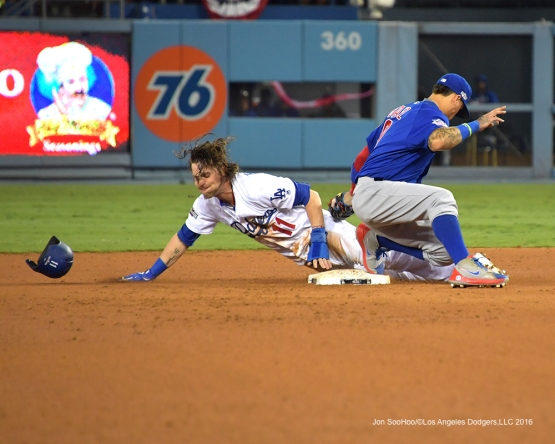 2016 NLCS Game 3---Josh Reddick is safe at second-Los Angeles Dodgers vs Chicago Cubs Tuesday, October 18, 2016 at Dodger Stadium in Los Angeles, California. Photo by Jon SooHoo/© Los Angeles Dodgers, LLC 2016