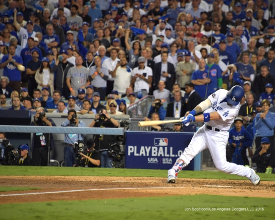 2016 NLCS Game 3---Yasmani Grandal homers0Los Angeles Dodgers vs Chicago Cubs Tuesday, October 18, 2016 at Dodger Stadium in Los Angeles, California. Photo by Jon SooHoo/© Los Angeles Dodgers, LLC 2016
