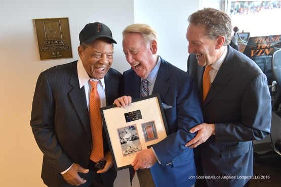 Willie Mays, Vin Scully and Larry Baer--Vin Scully calls his last game--Los Angeles Dodgers at San Francisco Sunday, October 2, 2016 at AT&T Park. Photo by Jon SooHoo/©Los Angeles Dodgers,LLC 2016