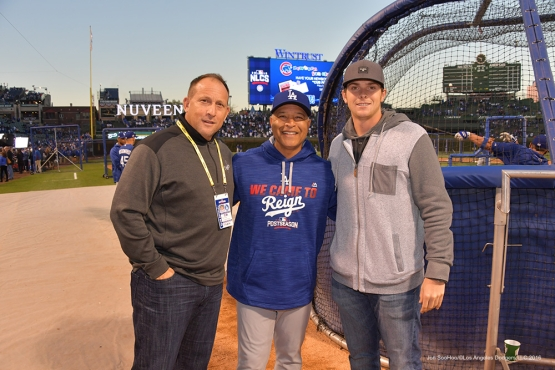 NLCS Game Six-The Finleys and Dave Roberts-Los Angeles Dodgers vs Chicago Cubs Saturday, October 22, 2016 at Wrigley Field in Chicago, Illinois. Photo by Jon SooHoo/©Los Angeles Dodgers,LLC 2016