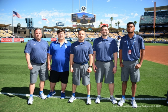 2016 NLDS Game 3---GREAT Dodgers home equipment staff-- Los Angeles Dodgers vs Washington Nationals Monday, October 10, 2016 at Dodger Stadium in Los Angeles, California. Photo by Jon SooHoo/© Los Angeles Dodgers, LLC 2016
