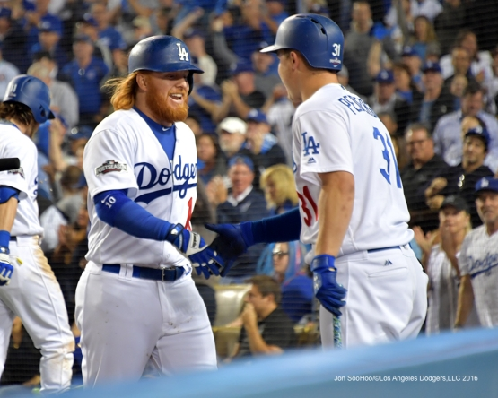2016 NLCS Game 3---Justin Turner homers-Los Angeles Dodgers vs Chicago Cubs Tuesday, October 18, 2016 at Dodger Stadium in Los Angeles, California. Photo by Jon SooHoo/© Los Angeles Dodgers, LLC 2016