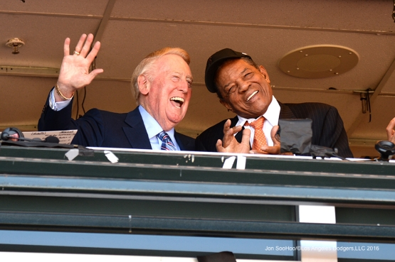 Vin and Willie---Vin Scully calls his last game--Los Angeles Dodgers at San Francisco Sunday, October 2, 2016 at AT&T Park. Photo by Jon SooHoo/©Los Angeles Dodgers,LLC 2016