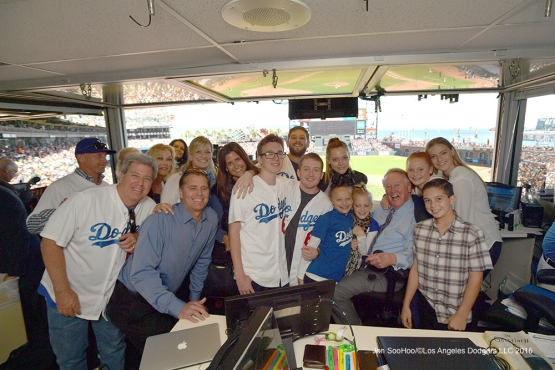 Vin with the family--Vin Scully calls his last game--Los Angeles Dodgers at San Francisco Sunday, October 2, 2016 at AT&T Park. Photo by Jon SooHoo/©Los Angeles Dodgers,LLC 2016