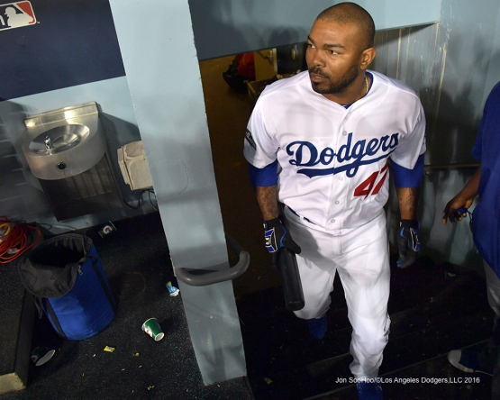 2016 NLCS Game 3---Howie Kendrick comes into the game-Los Angeles Dodgers vs Chicago Cubs Tuesday, October 18, 2016 at Dodger Stadium in Los Angeles, California. Photo by Jon SooHoo/© Los Angeles Dodgers, LLC 2016