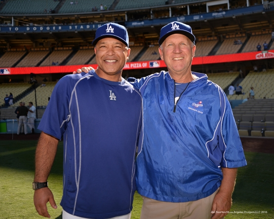 2016 NLCS Game 5---Dave Roberts and Eric Hansen-Chicago Cubs vs Los Angeles Dodgers Thursday, October 20, 2016 at Dodger Stadium in Los Angeles, California. Photo by Jon SooHoo/© Los Angeles Dodgers, LLC 2016